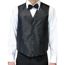 Amanti Men's 4pc Set Paisley Tuxedo Vest Black