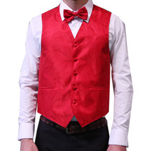 Amanti Men's 4pc Set Paisley Tuxedo Vest Red