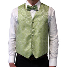 Amanti Men's 4pc Set Paisley Tuxedo Vest Kiwi