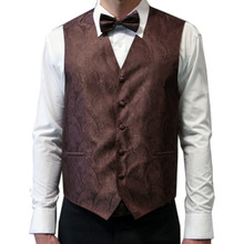 Amanti Men's 4pc Set Paisley Tuxedo Vest D.Brown