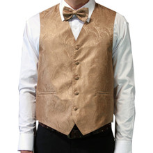 Amanti Men's 4pc Set Paisley Tuxedo Vest Lt.Brown