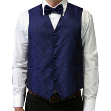 Amanti Men's 4pc Set Paisley Tuxedo Vest Navy