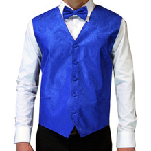 Amanti Men's 4pc Set Paisley Tuxedo Vest Royal Blue