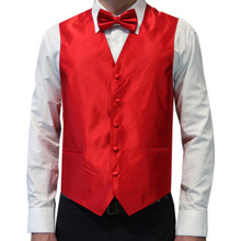 Amanti Men's 4pc Set Solid Tuxedo Vest Red