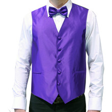 Amanti Men's 4pc Set Solid Tuxedo Vest Purple