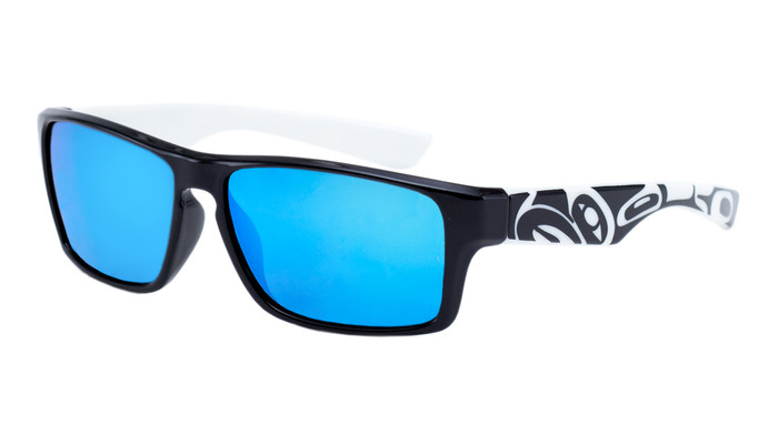 Black White with blue mirror lens
