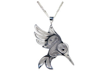 Silver Pewter Hummingbird in Flight Pendant