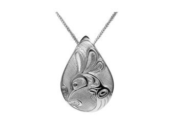 Silver Pewter Hummingbird Teardrop Pendant