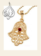 Hamsa Pendant with Red Stone, Gold