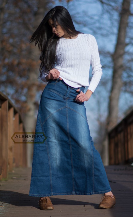 0e9fc38d6806c Very Long Denim Skirt - Blue Premium Fabric. Loading zoom. Very Long Denim  Skirt ...