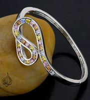 Bracelet with clasp, whitegold plated