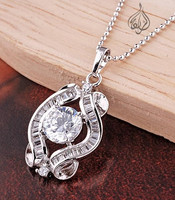 Modern shape rhodium plated pendant