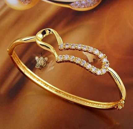 179013bbaebb0 Gold-plated Bangle with CZ Stones [BGL-885]