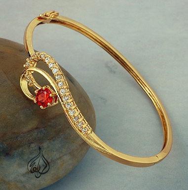 e2c510e5b7a0c Gold-plated Bangle with CZ Stones [BGL-860]