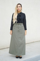 Long A-line Olive Cotton Twill Skirt