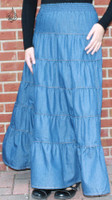 Tiered Blue Denim LONG Skirt