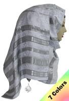 hijab scarf, head wrap, leopard floral silver