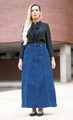 Long Denim Navy Blue skirt BA014