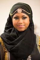 Muslimah Khaleeji Shayla / Border with amber rhinestones