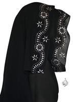Khaleeji Shayla for Abaya with silver rhinestones