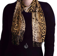 Neck Scarf Python Animal Print, Brown