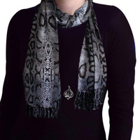 women's neck scarf, head scarf, gray animal print