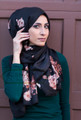 black floral scarf cotton | hijab muslim