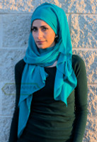Wave-Textured Chiffon Scarf in Turquoise