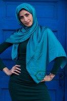 satin fabric long scarf hijab for muslim women - Turquoise