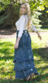 mermaid tiered flared blue skirt