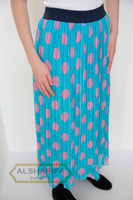 "37"" Long Lined Pleated Chiffon Skirt Turquoise - front"