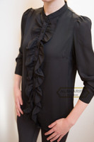 Hip-length Black Ruffled Blouse