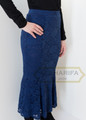 Full Length Floral Lace Skirt - Navy Blue
