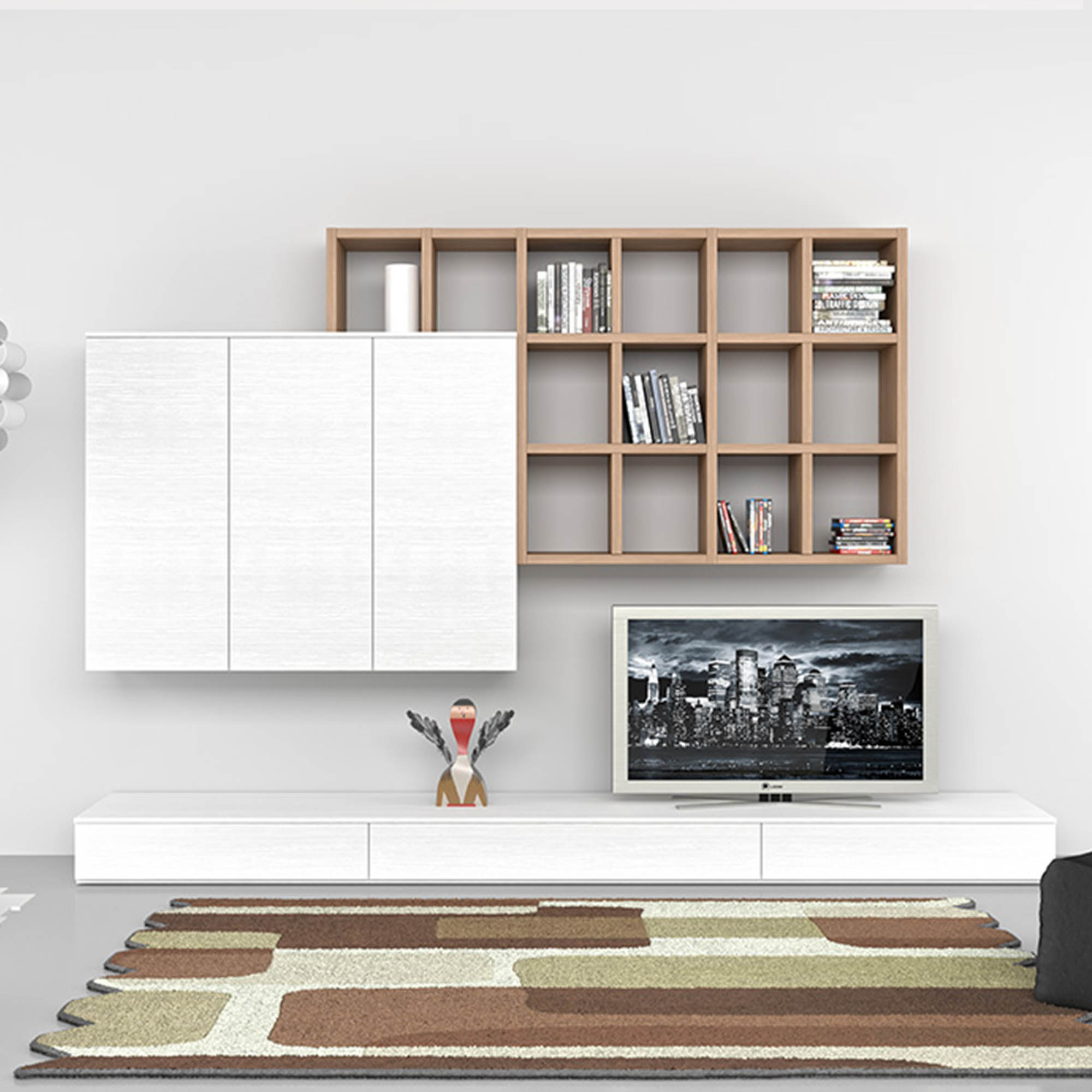... Italian Contemporary Furniture Bianco With Bookcase Tv Unit  ...