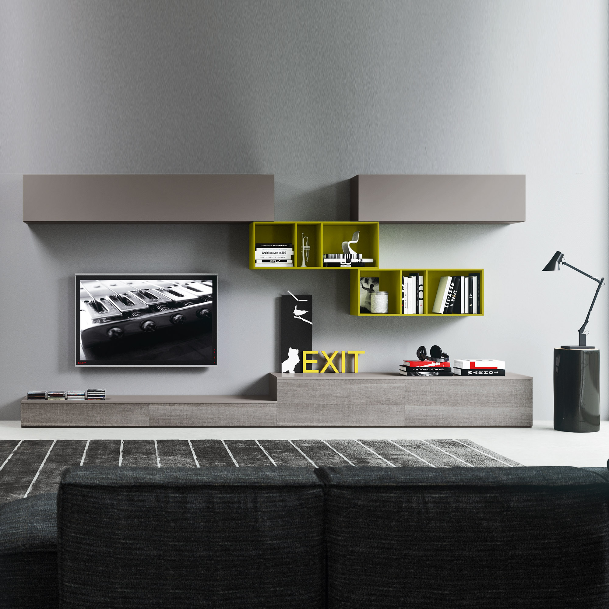 Marvelous ... Italian Contemporary Furniture Composition 10 Bookcase Tv Unit  ...
