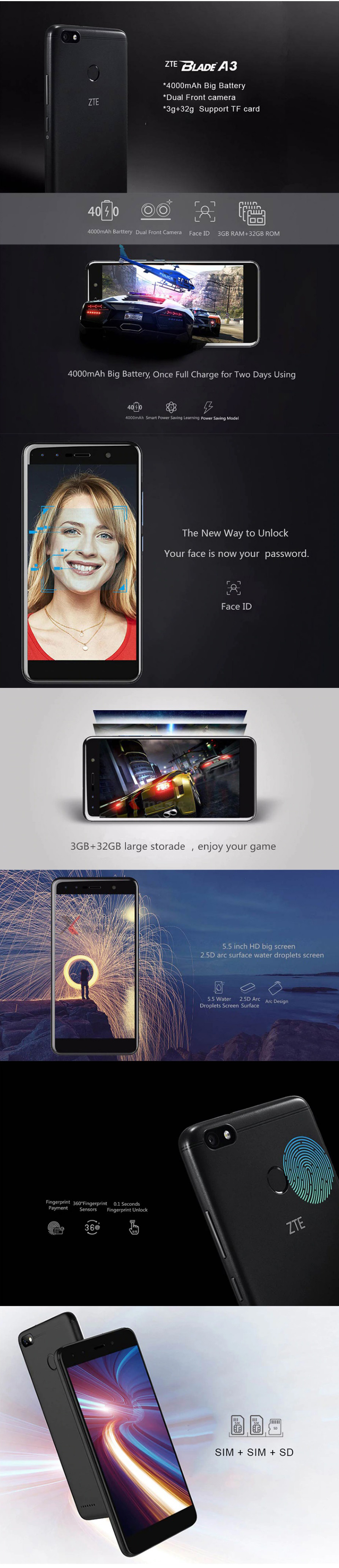 Details about ZTE BLADE A3 3gb 32gb Quad Core Fingerprint 13mp 5 5 Inch  Android 4g Smartphone