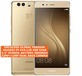 "huawei p9 4gb 64gb gold octa core 5.2"" screen android 6.0 4g lte smartphone"