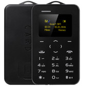 "aeku c6 card mobile phone black 4.8mm ultra thin pocket slim 0.96"" qwertykey bt"