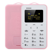 "aeku c6 card mobile phone pink 4.8mm ultra thin pocket slim 0.96"" qwertykey bt"