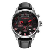 ochstin round multifunction leather silver red calender display men quartz watch