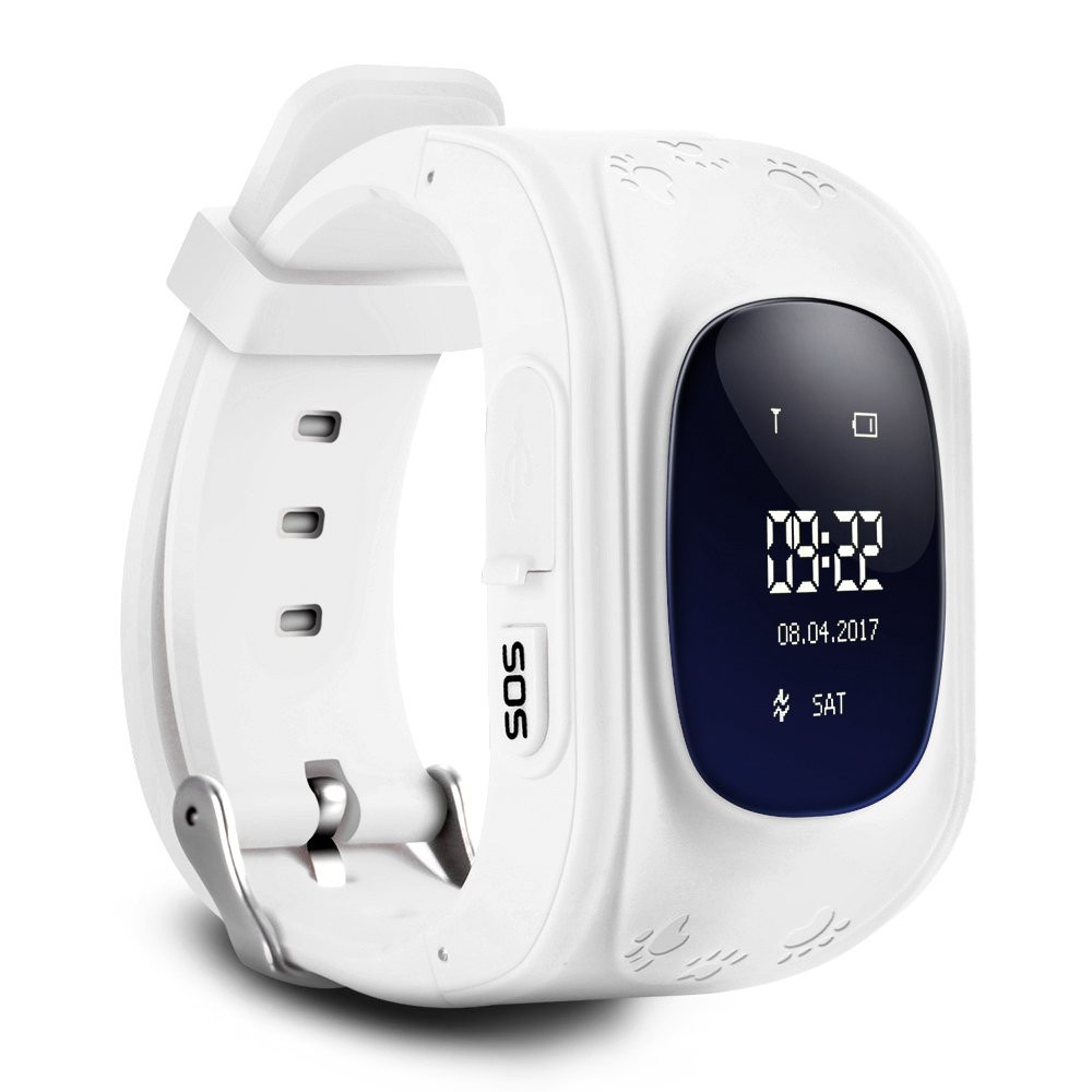 Q50 Gps White Sos Call Location Finder Tracker Monitor Kids Children Smartwatch Smart Watch For With Sim Card Black