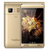 "tkexun g10 plus flip gold dual sim 3.5"" dual screen sos gsm camera mobile phone"