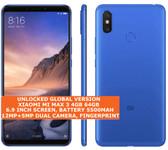 "xiaomi mi max 3 4gb 64gb blue octa core 6.9"" 12mp dual sim miui smartphone"
