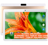 "3g phone call tablet pc 4gb 32gb gold quad core dualsim 5.0mp 10"" wifi android"