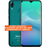 "blackview a60 pro 3gb 16gb green quad core 8mp face id 6.88"" android smartphone"