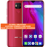 ulefone power 6 4gb 64gb octa-core 16mp fingerprint 6.3 android smartphone red