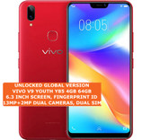"vivo v9 youth y85 4gb 64gb dual sim 13mp fingerprint 6.3"" android oreo 8.1 red"