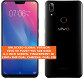 "vivo v9 youth y85 4gb 64gb dual sim 13mp fingerprint 6.3"" android oreo 8.1 black"