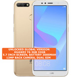 """huawei y6 3gb 32gb quad-core 13mp dual sim 5.7"""" android 8 lte smartphone gold"""