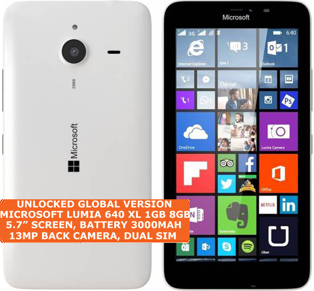 microsoft lumia 640 xl ta-1096 8gb quadcore 13mp camera 5 7 windows phone  white